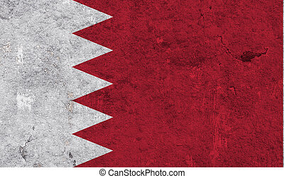 Flag of Bahrain on weathered concrete