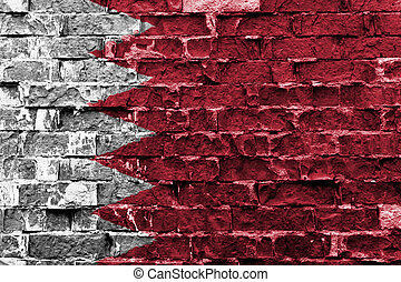 Flag of Bahrain painted on brick wall
