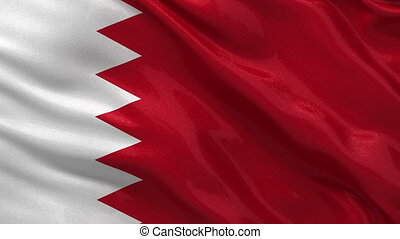 Flag of Bahrain seamless loop - Flag of Bahrain waving in...
