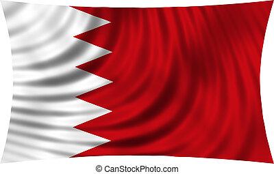 Flag of Bahrain waving isolated on white