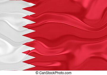 Flag of Bahrain, national country symbol illustration wavy