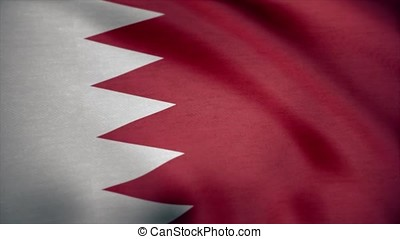 Flag of Bahrain with fabric texture, seamless loop. Waving...