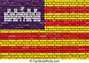 flag of Balearic Islands painted on brick wall