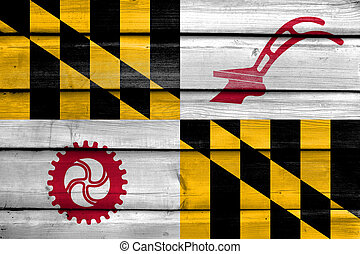 Flag of Baltimore County, Maryland, USA, painted on old wood plank background