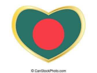 Flag of Bangladesh in heart shape, golden frame