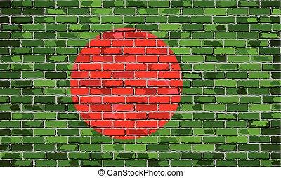 Flag of Bangladesh on a brick wall