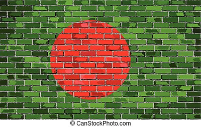 Flag of Bangladesh on a brick wall
