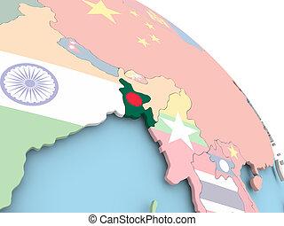 Flag of Bangladesh on globe