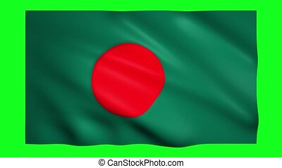 Flag of Bangladesh on green screen for chroma key