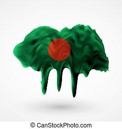 Flag of Bangladesh painted colors