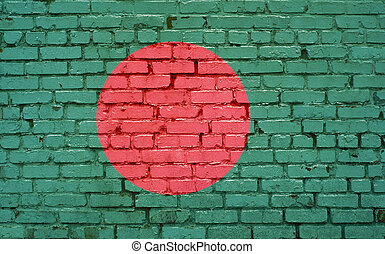 Flag of Bangladesh painted on brick wall, background texture