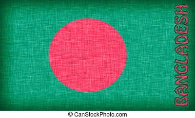 Flag of Bangladesh stitched with letters