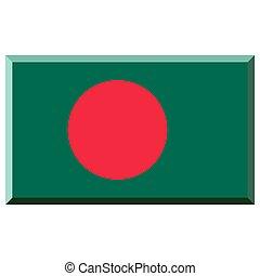 Flag of Bangladesh with 3D border