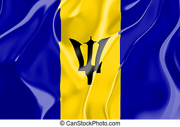 Flag of Barbados, national country symbol illustration