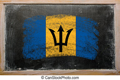 flag of Barbados on blackboard painted with chalk
