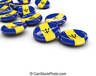 Flag of barbados, round buttons