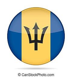 Flag of Barbados. Shiny round button.