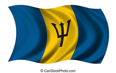 Flag of Barbados waving in the wind