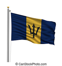 Flag of Barbados with flag pole waving in the wind over white background