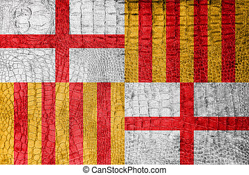 Flag of Barcelona, on a luxurious, fashionable canvas