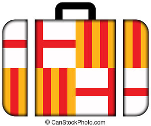 Flag of Barcelona. Suitcase icon, travel and transportation concept