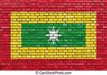 flag of Barranquilla painted on brick wall