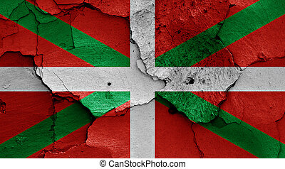 flag of Basque Country painted on cracked wall