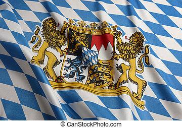 Flag of Bavaria - Close-up shot of wavy Bavarian flag