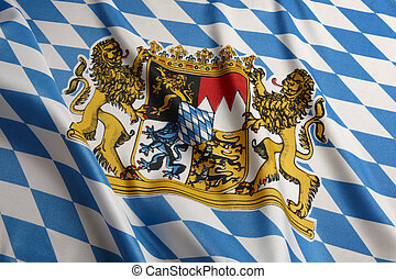 Close-up shot of wavy Bavarian flag