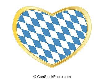 Flag of Bavaria in heart shape, golden frame