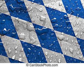 flag of Bavaria with rain drops