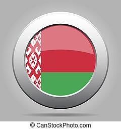 Flag of Belarus. Metal gray round button.