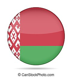 Flag of Belarus. Shiny round button.