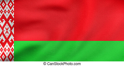 Flag of Belarus waving, real fabric texture