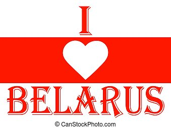 Flag of Belarus with a heart symbol in white and red colors.