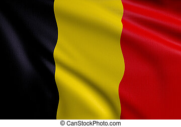 Flag of Belgium - 3d illustration flag of Belgium