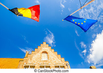 Flag of Belgium and EU in Bruge