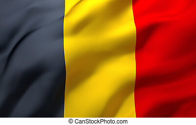 Flag of Belgium blowing in the wind
