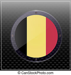 Flag of Belgium button. Illustration.