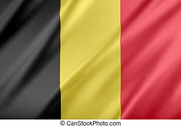 Flag of Belgium. fluttering in the wind.