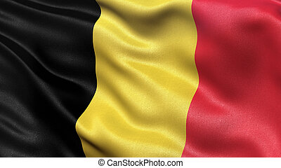 Flag of Belgium - Highly detailed flag of Belgium waving in ...