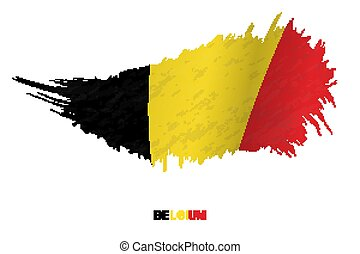 Flag of Belgium in grunge style with waving effect.