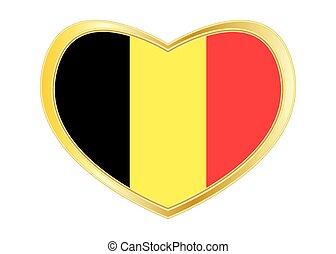 Flag of Belgium in heart shape, golden frame