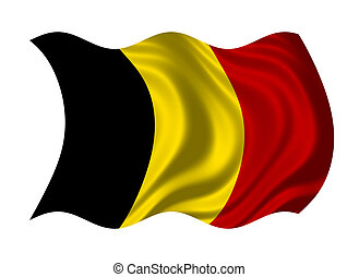 Flag of Belgium isolated on white background