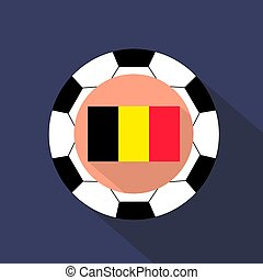 Flag of Belgium on a blue background. Soccer ball.