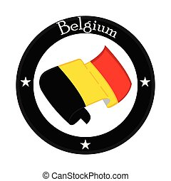 Flag of Belgium on a label