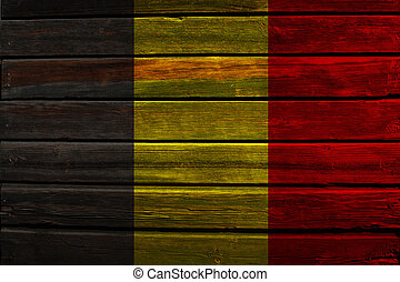 Flag of Belgium on wood