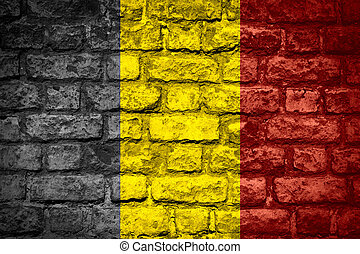 flag of Belgium or Belgian banner on brick texture