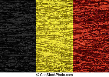 flag of Belgium or Belgian banner on canvas texture