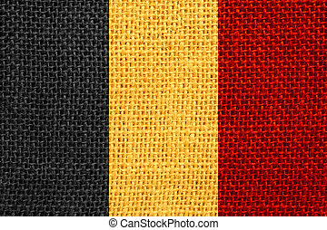 flag of Belgium or Belgian banner on linen background